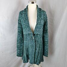 Rosie Neira Anthropologie Long Cardigan Sweater Hourglass Open Knit Wool Sz M