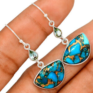 Copper Blue Turquoise & Blue Topaz 925 Sterling Silver Earring Jewelry BE48749