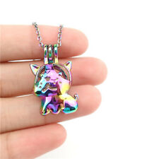 """C910 Pearl Cage Dog Locket Diffuser Rainbow Color Necklace 18"""" Steel Chain"""