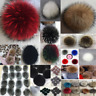 Women Large Faux Raccoon Fur Pom Pom Ball with Press Button for Knitting Hat TKL