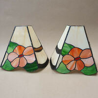 2x Art Deco Lead Glass Wall Light Shades,Floral Vintage Bevelled Sconce Tiffany
