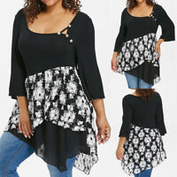 9420a4cf9a9f7 Plus Size Women 3 4 Sleeve Floral Printed Asymmertrical Tops Blouse Tunic  Shirt