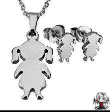 7e8f1c593927 Conjunto acero niña muñeca (pendientes + colgante con cadena)