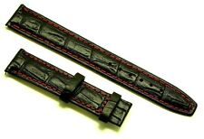 18mm Black/Red Deployment Leather Crocodile Grain Watch Strap Buckle size 16mm