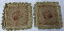 """14""""x14"""" Pair French Floral Needlepoint Aubusson Hand Woven Tassel Cushion Pillow"""