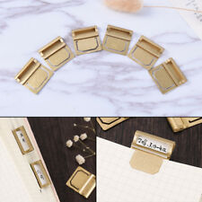 6Pcs Vintage Brass Bookmarks Metal Index Clamp Label Clip Stationery PaperM&C