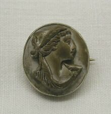 Unusual Antique Silver Mounted Carved Lava Cameo Brooch