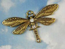 1 Golden Dragonfly Large Pendant Eye Rhinestones Gold Tone 72mm x 41mm  #P669