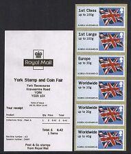 YORK JANUARY 2014 MA13 CODE Post & Go FLAGS 6xNVI A3 STRIP WITH RECEIPT