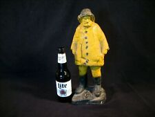 """Rare Large Heavy (20lbs.) Vintage Solid Cast Iron Fisherman Door Stop 15"""" Tall !"""
