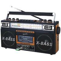 Retro Portable Boombox Radio Player Recorder Cassette USB AUX MP3 Converter
