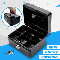 "6"" Cash Box Money Bank Deposit Steel Tin Security Safe Petty Cash Key Lockable"