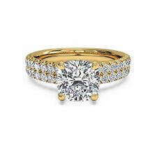 BIS 14K Yellow Gold Solitaire 1.60Ct Cushion Cut Diamond Engagement Ring Size 6