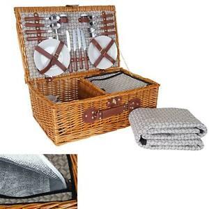 Picknickkorb-Set HWC-B25 für 4 Personen, Porzellan Edelstahl, beige