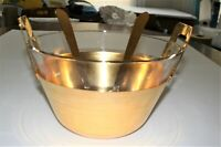 Mid- Centruy Modern 24K Gold Electroplate Metal & Glass Salad Bowl and Servers
