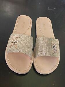 Michael Kors Slide Glitter SLIP ON GOLD Mesh SLIDES SANDALS Size 8 FLOOR SAMPLE