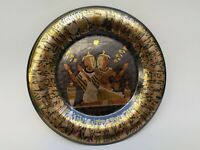 vintage metal wall hanging hand made Egyptian ornate engraved brass copper plate