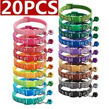 20pcs/lot Dog Puppy Cat Collar Pet collars W/bell Nylon Necklace Gift Wholesale