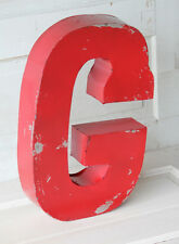 "20"" Industrial Rustic Block Letter G Sign, Red, Recycled Metal Letter"