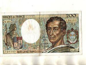 BILLET 200 FRANCS MONTESQUIEU 1985 N031