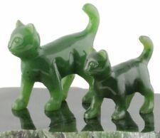 Genuine Canadian Nephrite Jade Walking Cat Figurine - Multiple Sizes