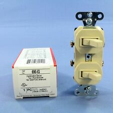 New Pass & Seymour Ivory Double Toggle Light Duplex Switch 15A 120/277VAC 690-IG