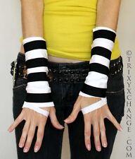White Black Striped Mummy Slash Fingerless Gloves Anime Costume Prisioner 1033