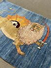 4' X 5'Stunning  Lion Oriental Area Rug Gabbeh hand made Nomadic Woven rare A+