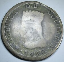 1820 Colombia Silver 8 Reales Eight Real Colonial Dollar Pirate Treasure Coin