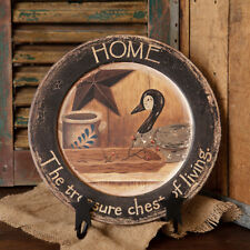 New Home Wooden Plate Country Primitive Decorative Sign Black Distressed Goose