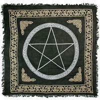 "Pentagram Altar Cloth 36"" NEW Celtic Wicca Pagan Gold and Black Square Rayon"