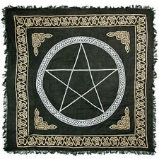 """Pentagram Altar Cloth 36"""" NEW Celtic Wicca Pagan Gold and Black Square Rayon"""