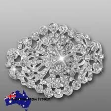 5 x Crystal Diamante Brooch Bouquet Pin / Cake Jewellery / Invitation Buckle