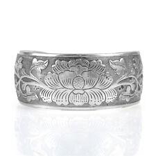 Vintage Nation Tibetan Tibet Silver Peony Flower Bangle Adjustable Cuff Bracelet