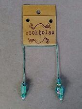 HANDMADE BEADED BOOKMARK ~ TURQUOISE GLASS BEAD WITH PINK ROSE