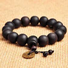 11mm Black Wood Beads Tibet Buddha Buddhist Prayer Bracelet Mala Men Women