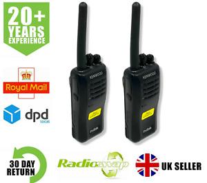 KENWOOD TK3501 PMR446 WALKIE TALKIE TWO WAY RADIO WITH G-SHAPE EARPIECES x 2