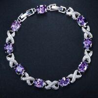 Damen Armband Silber 925 Armreif Zirkonia Edelstein 18+3cm 7 Farben Geschenk Neu