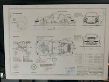 Limitierter ARTprint Porsche 911/ 964 1988 Konstruktionszeichnung