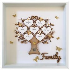 Personalised Family Tree 3D Box Frame Handmade Keepsake Wedding Gift Home Gold