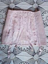 Vintage 40's 50's pin up pink cotton brocade waist cincher corset shaper garters