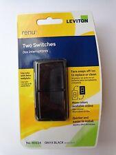 Leviton Renu Two Switches RE634 Onyx Black R55-RE634-OB