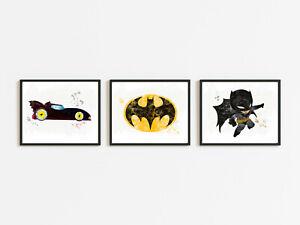 batman marvel bedroom wall art prints batmobile car logo superhero room theme