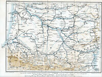France Sud-Ouest 1889 carte orig. Gascogne Guyenne Pyrénées Languedoc Montauban