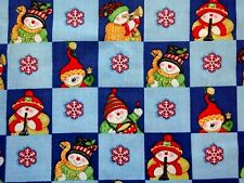 "CHEERFUL SNOWMAN SQUARES ON BLUE COTTON FABRIC - MARCUS BROS - 44"" x 44"""