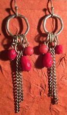 Hippy Boho Gypsy Fashion Red Orange Bead Chain Drop Dangle Earrings