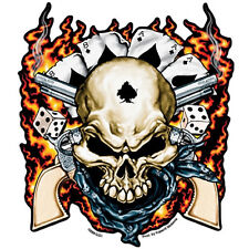 Dead Man Skull & Guns llamas poker calavera decal Pegatina Sticker