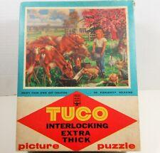 Vtg Tuco Jigsaw Puzzle The Little Milk Maid Farm Cows Girl