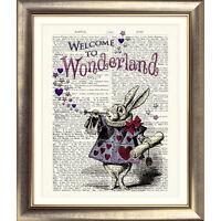 ART PRINT ON ORIGINAL ANTIQUE BOOK PAGE Vintage Alice in Wonderland White Rabbit