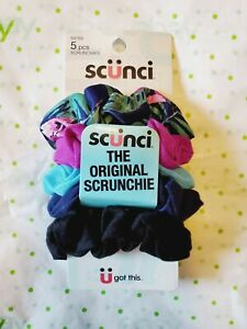Scunci The Original Scrunchie 5 Pack Blue Tropical Purple Blues Black  New